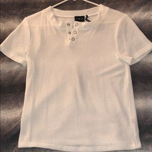 UO White T-Shirt with silver buttons